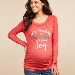 Motherhood Maternity Long Sleeve T-Shirt Red XSM